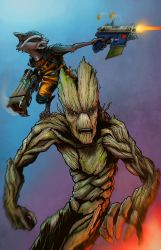 Groot and Rocky color by DecayingArt