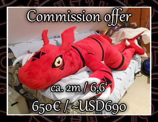 [Commission offer] Huge Guilmon Plush! by Starfighter-Suicune