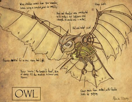 Mechanical Steampunk Owl by Insomnia-and-Cake