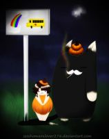 Waiting for the Rainbow Bus by PickleMittens