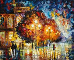 Night Wondering by Leonid Afremov by Leonidafremov