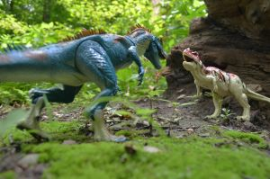 Allosaurus vs. Ceratosaurus by CrazyAsylumClown