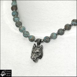 Nordic Wolf Necklace w/Blue Crazy Lace Agate Beads by GoodSpiritWolf