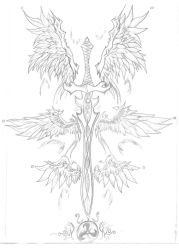 Sword and Wing Tattoo by rayrayloser11