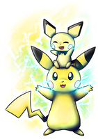 Pikachu and Pichu by Nekodox