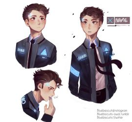 Connor Detroit become human + speedpaint  by Bluebiscuits