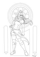 Amber's Artemis Lineart by Megadee