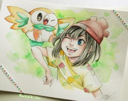 Moon and Rowlet by ChromOn