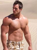 Muscle Guy at the Beach by Stonepiler