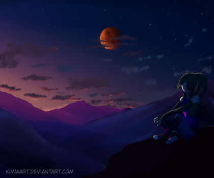 Eclipse lunar  - blood moon by KimiaArt