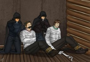 Sam and Dean straitjacketed by the Brotherhood by Carnath-gid