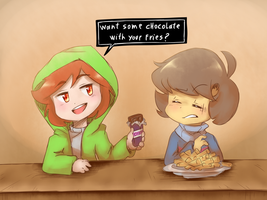 Storyshift Chara And Frisk At Grillbys by thegreatrouge