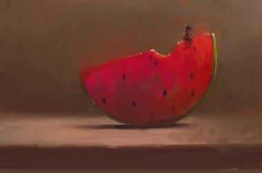 Happy Fairy Sitting on a Watermelon by DM7