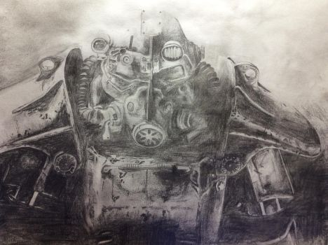 Fallout 3 Power Armor drawing by Oragonborn