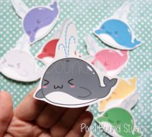 Chibi Whale Stickers and Magnets by pixelboundstudios
