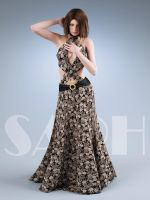 brown flower dress by SaphireNishi