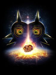 Legend of Zelda Majora's Mask Moon Fall on Termina by studiomuku