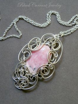Oval Rhodochrosite and Sterling Silver pendant by blackcurrantjewelry
