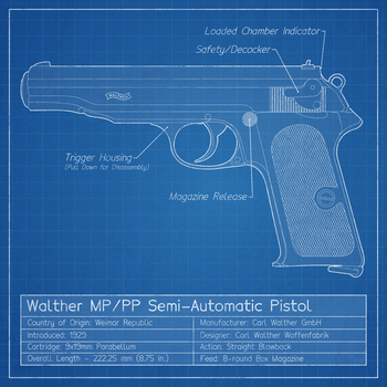 Walther MP/PP Pistol Blueprint by graphicamilitare