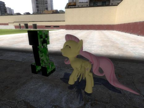 Fluttershy meets a Creeper by Alexiscool33