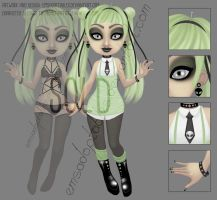 [Closed] Green Pastel Goth Adoptable [AUCTION] by EmsAdoptables