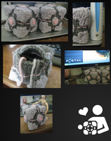 Companion Cube Crochet by Xecaria