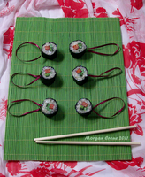Tuna Roll Maki Glitter Sushi Ornaments by MorganCrone