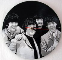 The Beatles on vinyl clock by vantidus