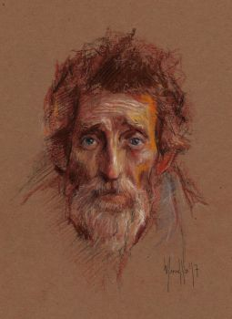 Old man face pastels quick study by SILENTJUSTICE