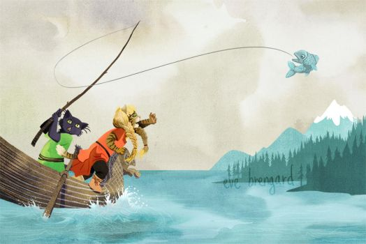 Viking Cats - Fishing ! by Eve-Brengard