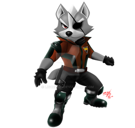 Wolf O'Donnell ( Star Fox 64 3D ) Artwork no offic by Ligoexe03