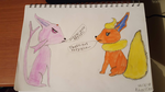 Flareon + Espeon by SophieSharkley