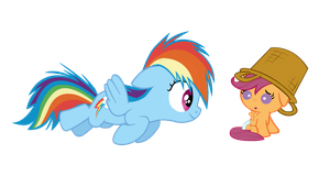 Filly Rainbow Dash and Baby Scootaloo by RainbowsStar