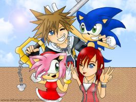 kingdom hearts and sonic by hilarydianangel
