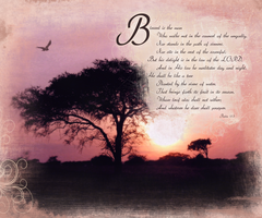 1. Sunset and Psalms 1:1 by madetobeunique