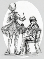 NieR Concert Gesture Drawing by MonochromeAgent