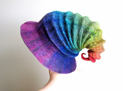 Felted Wizard Hat Rainbow Purple to Red by HandiCraftKate