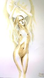 Naked woman and moon by CORinAZONe