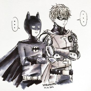 INKTOBER :: Day 17, Saitama and Genos by xmelonhippo