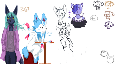 Doodles at multiple drawing by Coffee-Ratteu