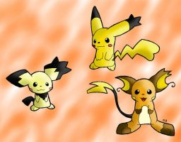 Notched-ear Pichu and evos by Peeka13