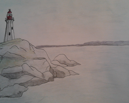 Lighthouse (watercolour pencil and sharpie) by neeltjelena