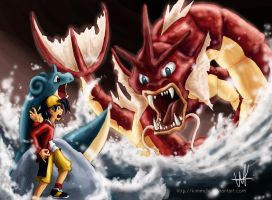 Confronting the Red Gyarados by kimmchi