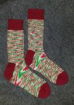 Candy cane Christmas socks by KnitLizzy