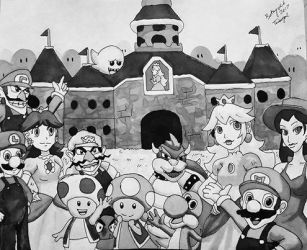 Inktober 2017 Day One - Mario by Tambergal
