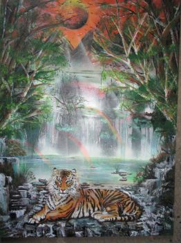 tiger in rainbows by darrenTyrie