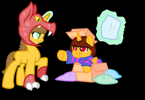 Pony Frisk And Pony Monster Kid by magiclaila89