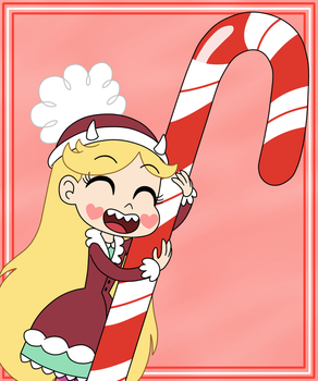 Star likes a giant candy cane by Deaf-Machbot