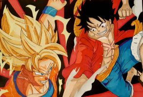 Goku vs Luffy By Demy by Demy111