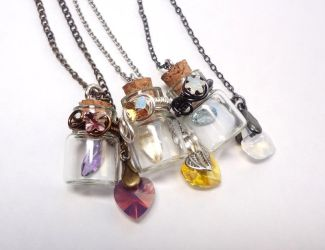 Wire-Wrapped Gem Bottles by WaterGleam